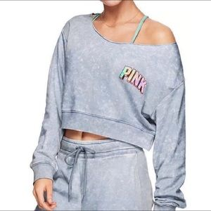 Pink Victoria  Secret Cropped Crew Neck Sweatshirt